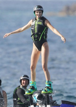 Kendall Jenner in Black Swimsuit -02