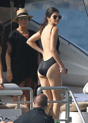 Kendall Jenner in Black Swimsuit Water Fun in St. Barts