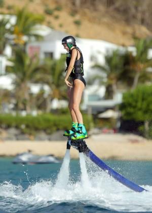 Kendall Jenner in Black Swimsuit -21