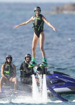 Kendall Jenner in Black Swimsuit -23