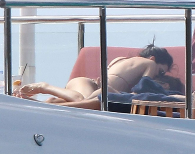 Kendall Jenner - Wearing a Bikini on a yacht in Antigua