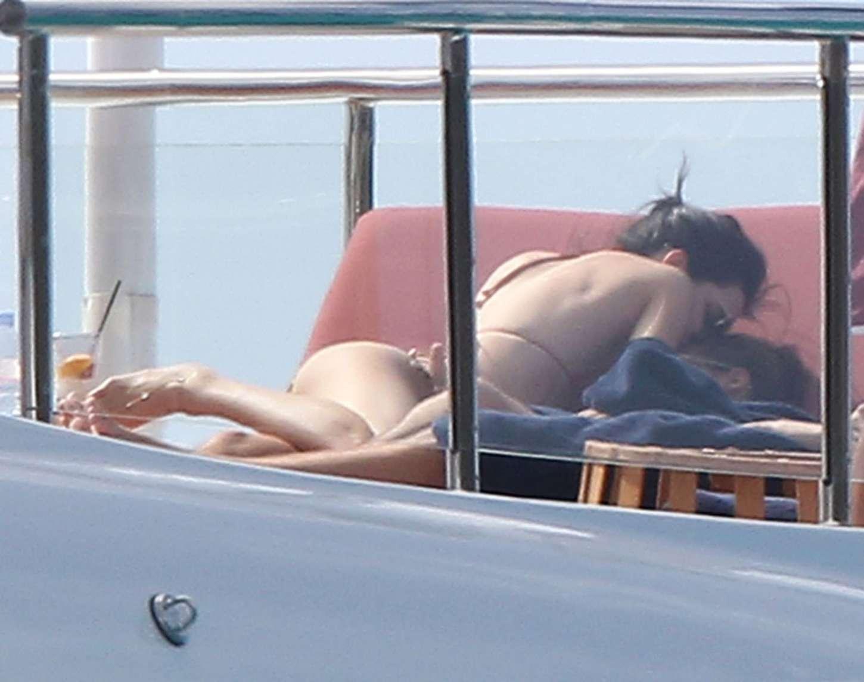 Kendall Jenner - Wearing a Bikini on a yacht in Antigua