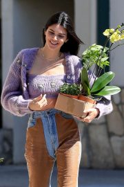 Kendall Jenner with flowers out in Hollywood
