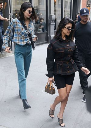Kendall Jenner with Kourtney Kardashian - Seen at Ice Cream Shop in the East Village in NYC