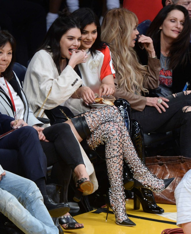 Kendall and Kylie Jenner at Los Angeles Lakers vs Sacramento Kings game in LA