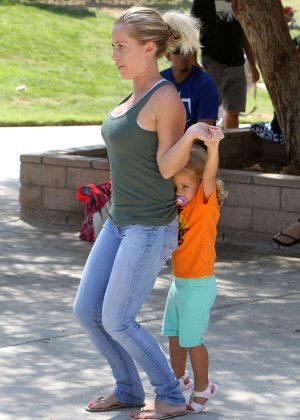 Kendra Wilkinson at son Lil Hank's baseball game in Los Angeles
