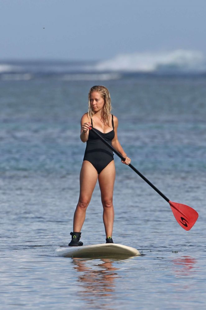 Kendra Wilkinson in Swimsuit paddleboarding in Hawaii