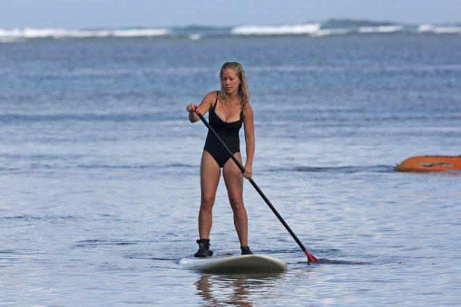 Kendra Wilkinson in Swimsuit paddleboarding -18
