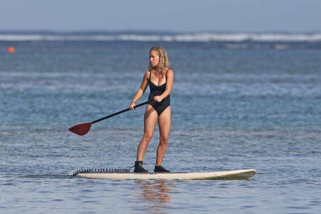 Kendra Wilkinson in Swimsuit paddleboarding -19