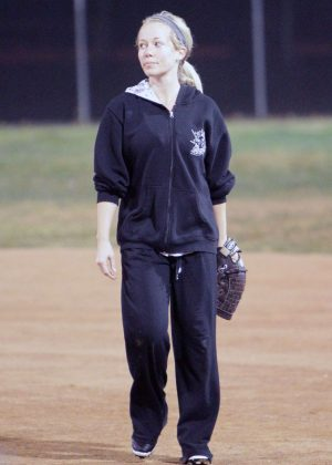 Kendra Wilkinson - Plays in a tournament softball game in Los Angeles