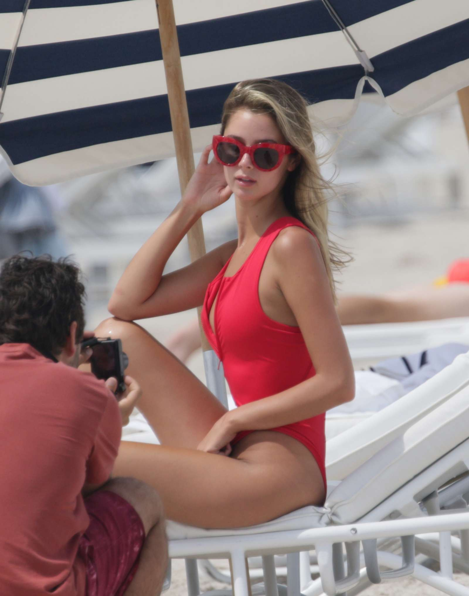 Kennedy Barnes in Red Swimsuit at the beach in Miami