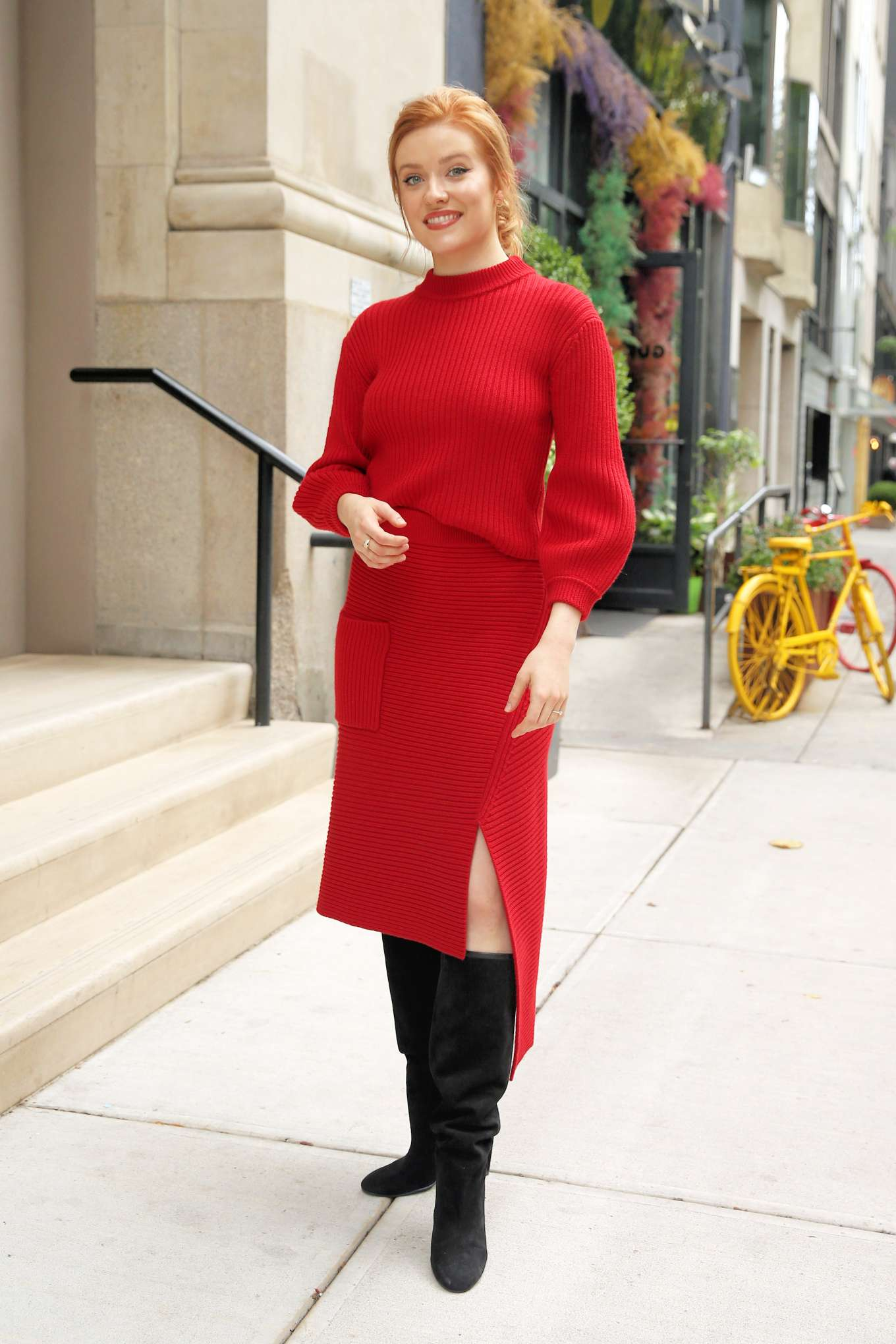 Kennedy McCann in Red Knit Dress - Leaves Buzzfeed in New York City