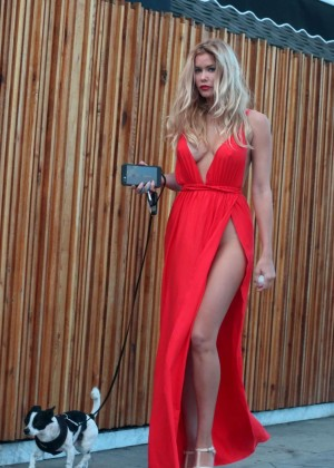 Kennedy Summers in Red Dress Walking her dog in Hollywood
