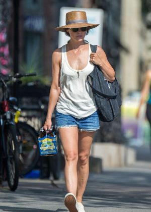 Keri Russell in Jeans Shorts out in Brooklyn