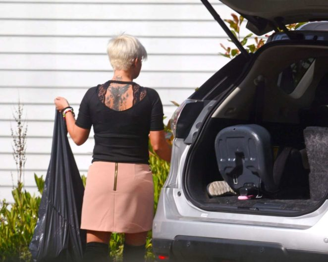 Kerry Katona - Seen Cleaning Her Car At Home