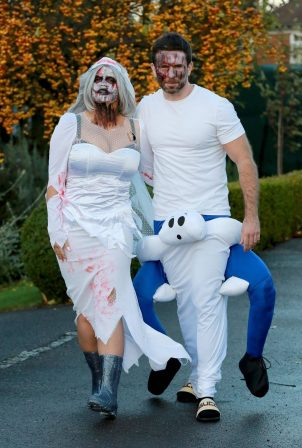 Kerry Katona - Seen while celebrates Halloween at home in Sussex