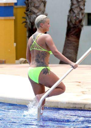 Kerry Katona - Wear Neon Yellow Bikini in Dubai