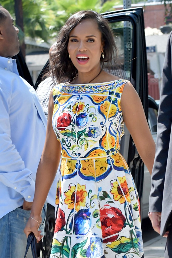 Kerry Washington in floral dress out in Pasadena