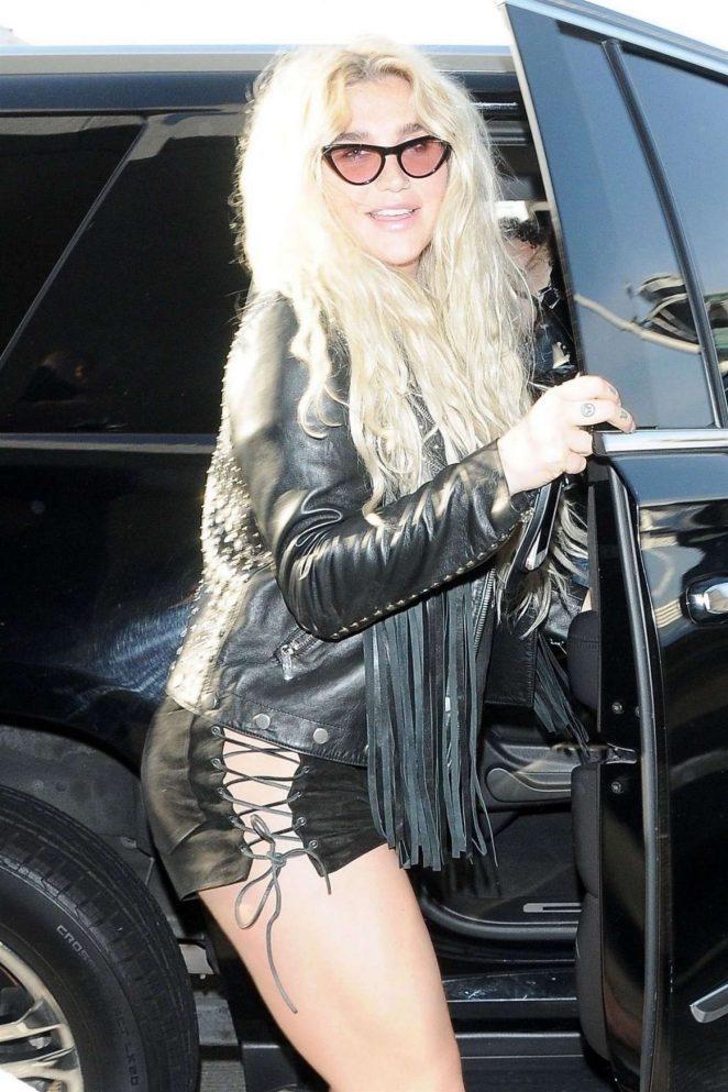 Kesha in Shorts at LAX International Airport in LA
