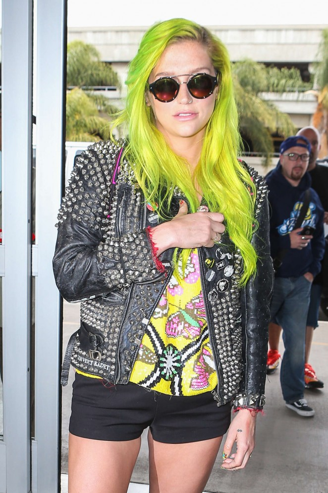 Kesha in Shorts at LAX airport in LA
