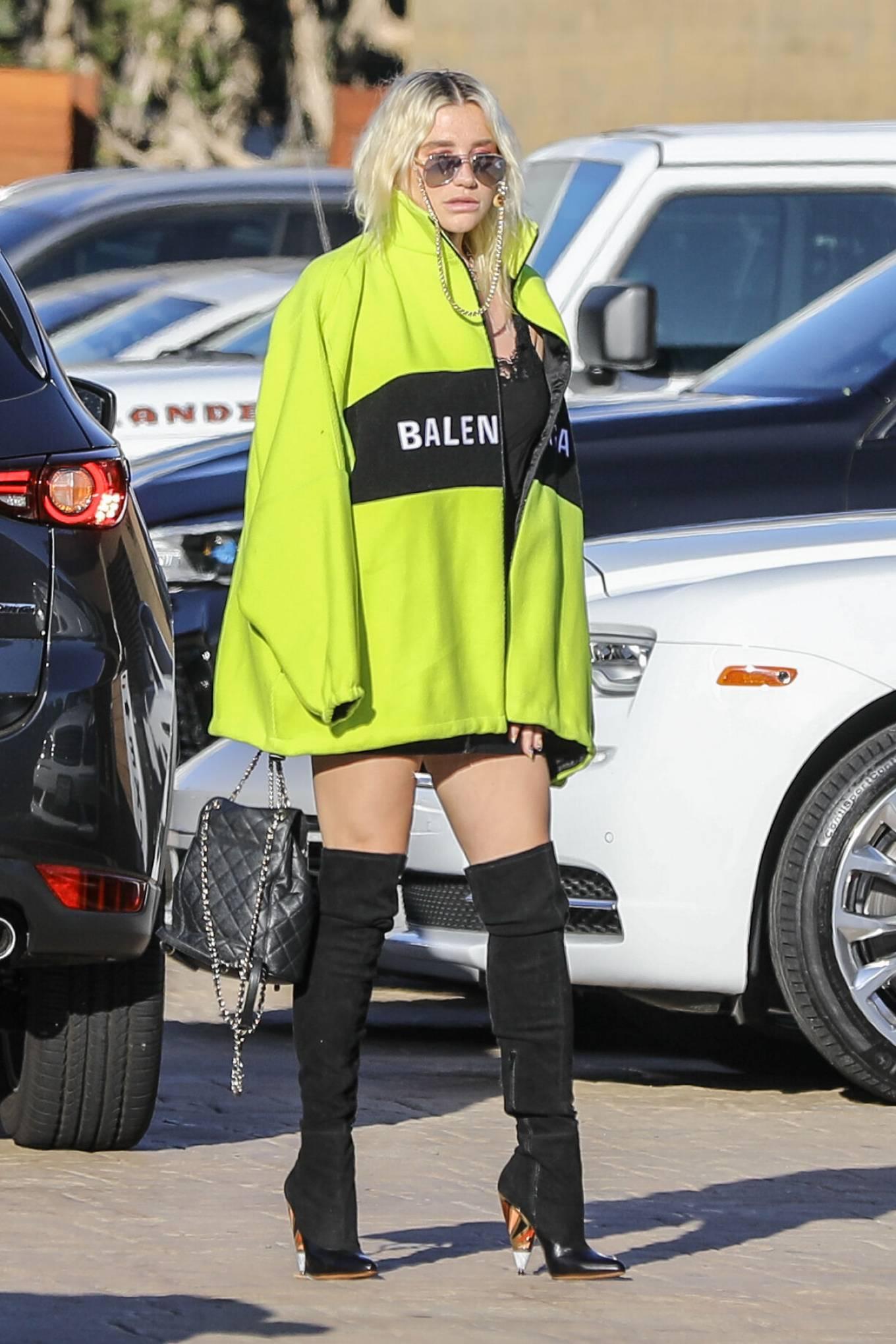 Kesha - Out in Malibu with yellow Belenciaga jacket, high socks and high heels