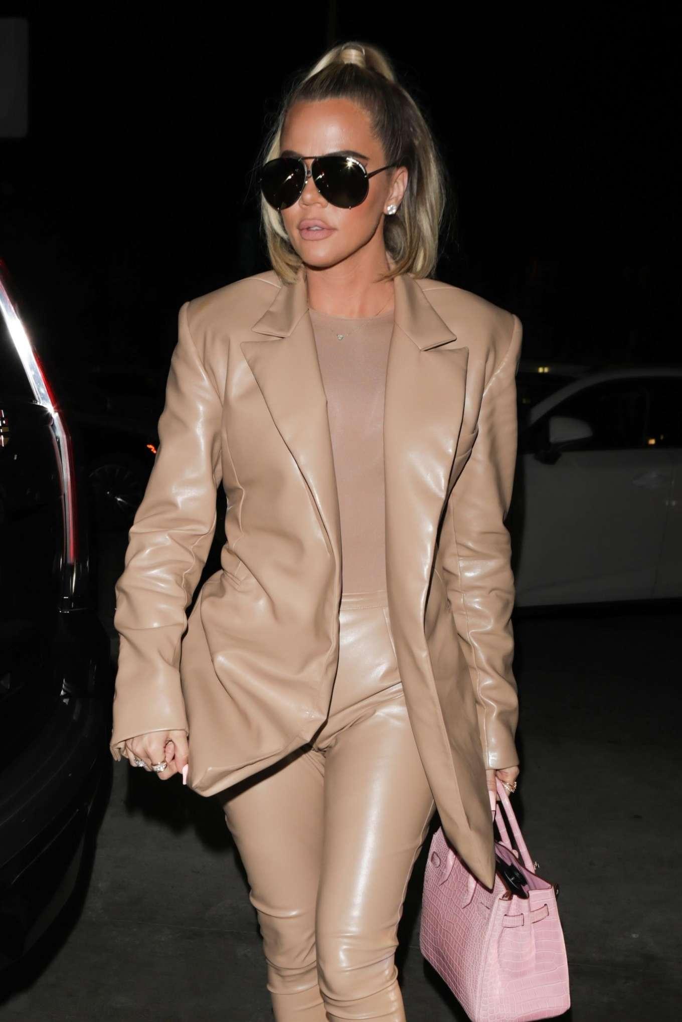 Khloe Kardashian all in leather arrives at Carousel restaurant in Glendale
