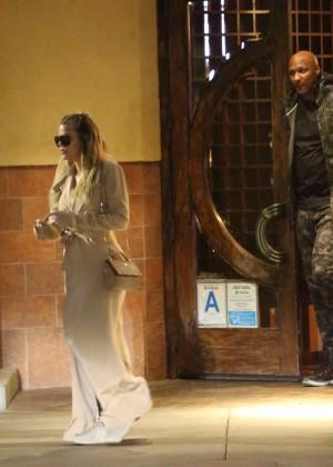 Khloe Kardashian and Lamar Odom at Ruth's Chris Steak House in LA