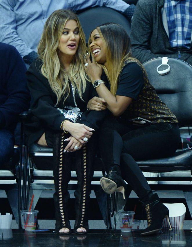 Khloe Kardashian and Malika Haqq at NBA game in LA