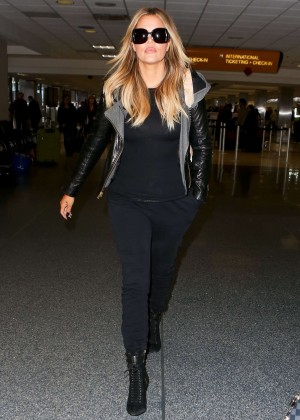 Khloe Kardashian in Jeans at LAX Airport in LA