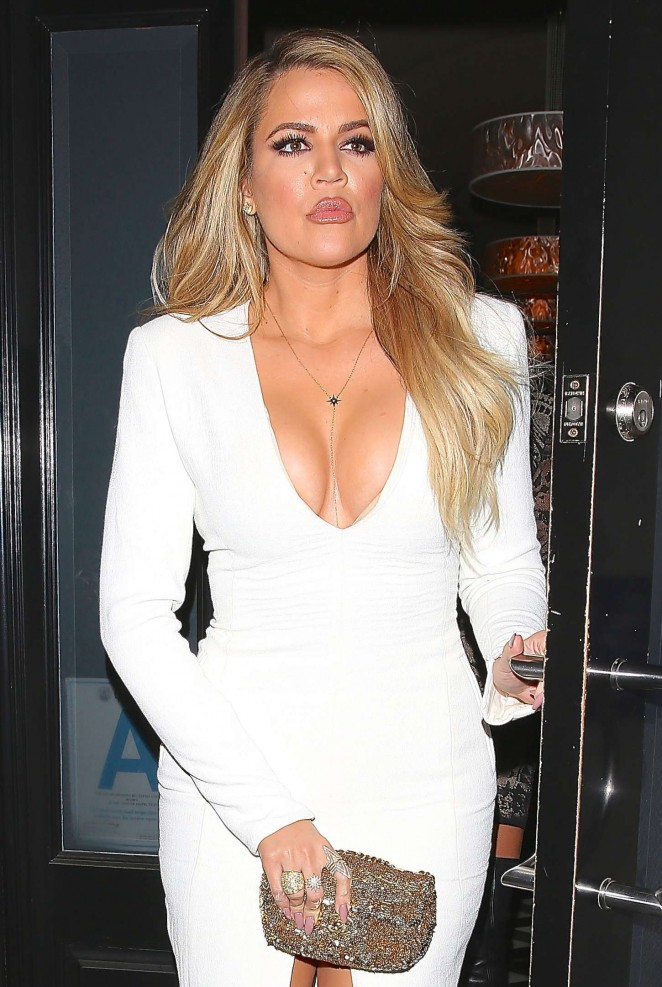 Khloe Kardashian in White Dress at Craig's Restaurant in West Hollywood