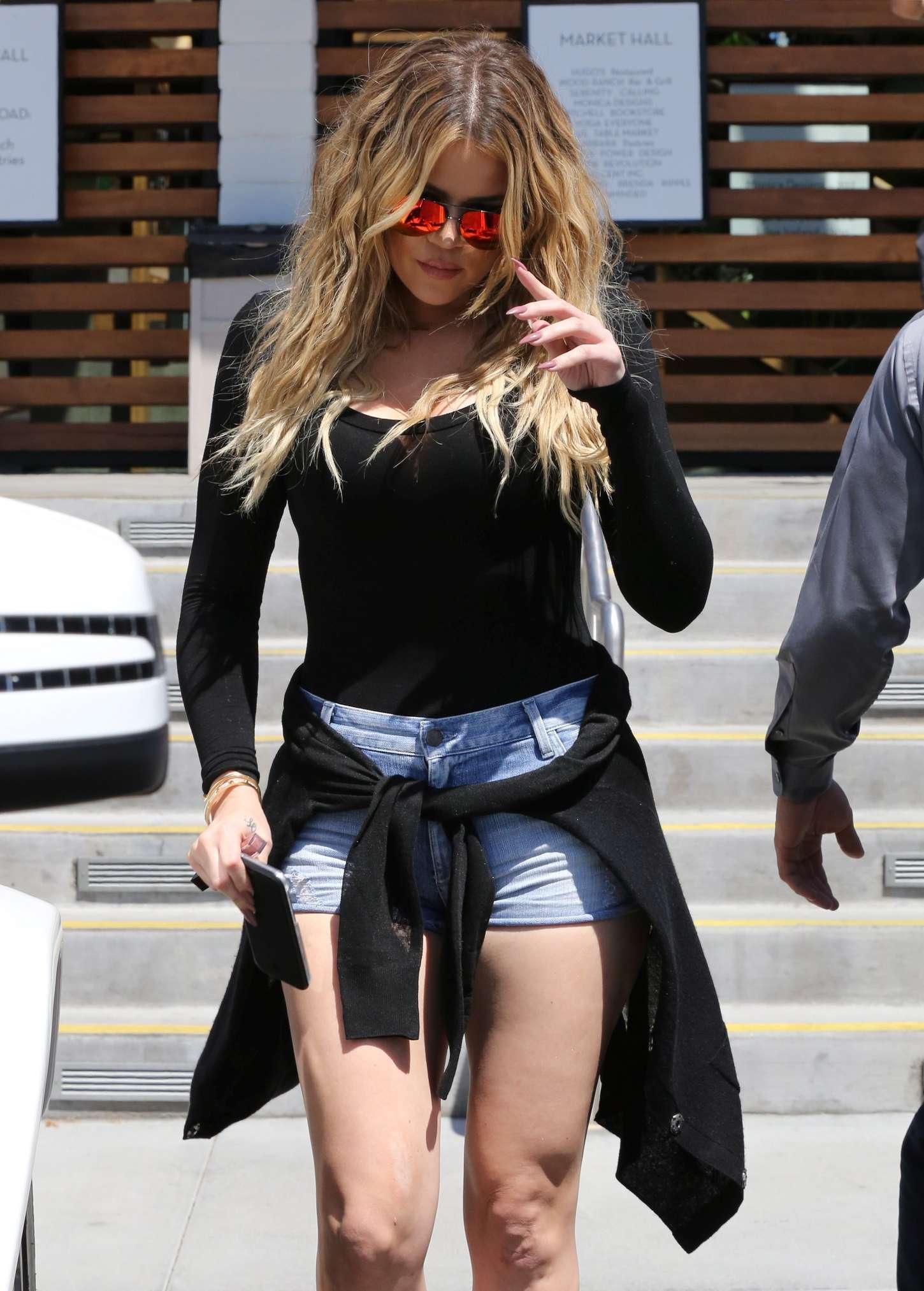Khloe Kardashian in Denim Shorts Filming in Augora Hills