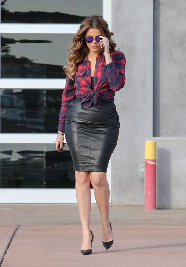 Khloe Kardashian - In a black tight leather skirt in Los Angeles