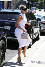 Khloe Kardashian - In a white dress steps out for lunch in Beverly Hills