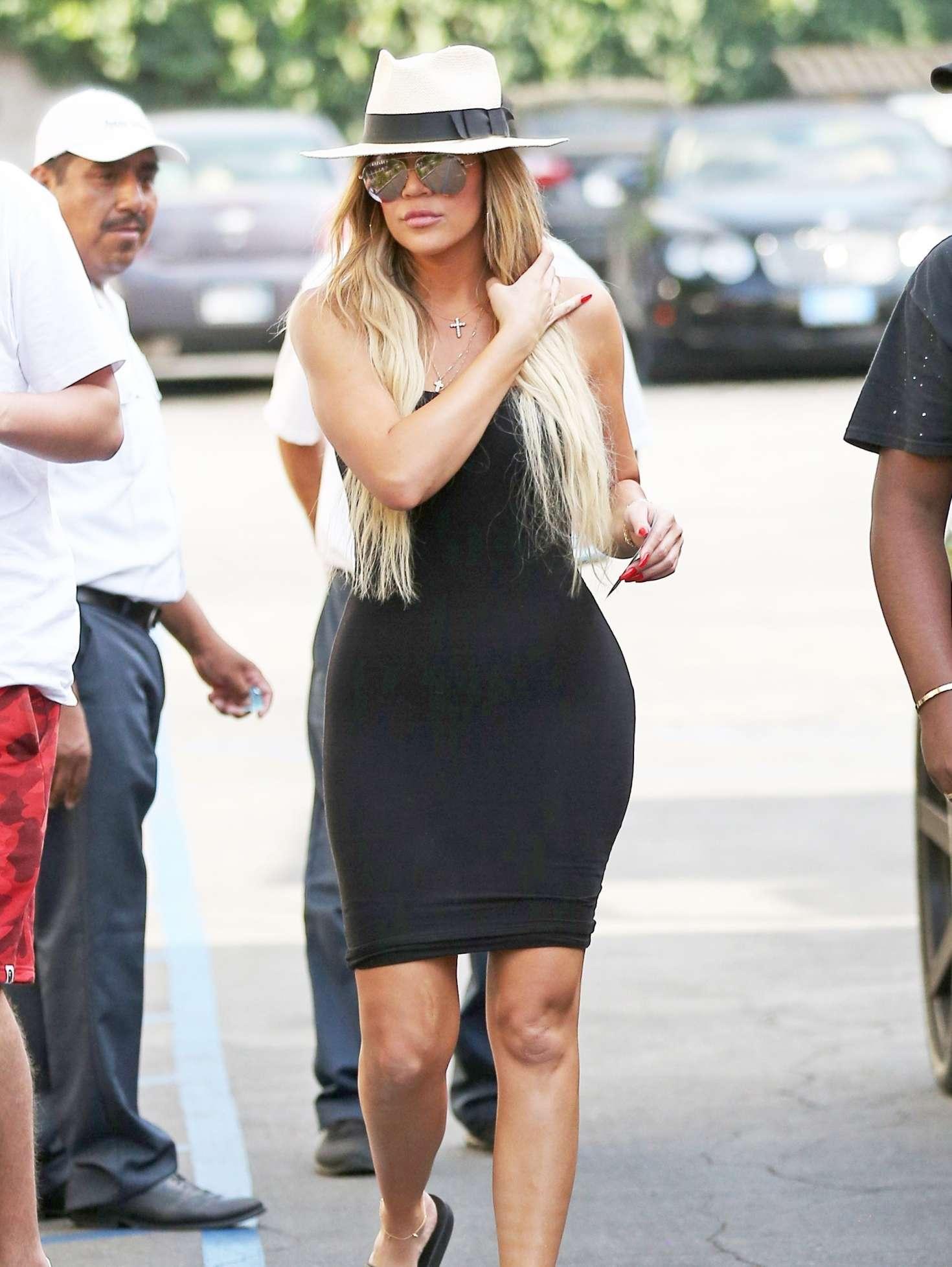 Khloe Kardashian in Black Dress out in LA