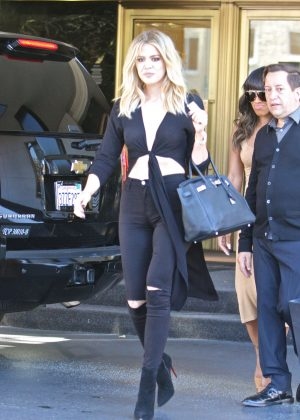 Khloe Kardashian in Black Jeans out in Beverly Hills