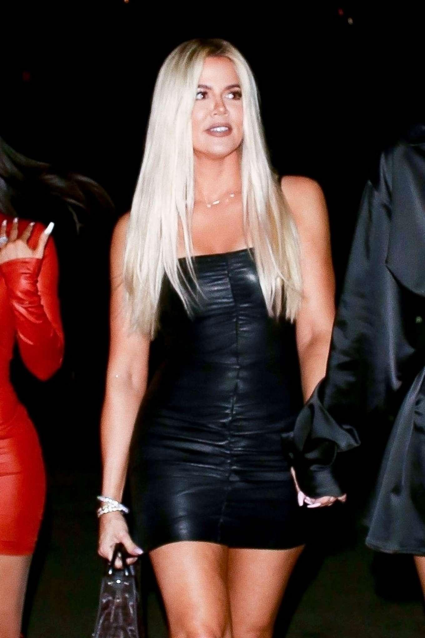 Khloe Kardashian in Black Mini Dress - Night out in LA