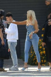 Khloe Kardashian in jeans arrives at a Studio in Los Angeles