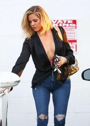 Khloe Kardashian in Jeans leaving the studio in Van Nuys