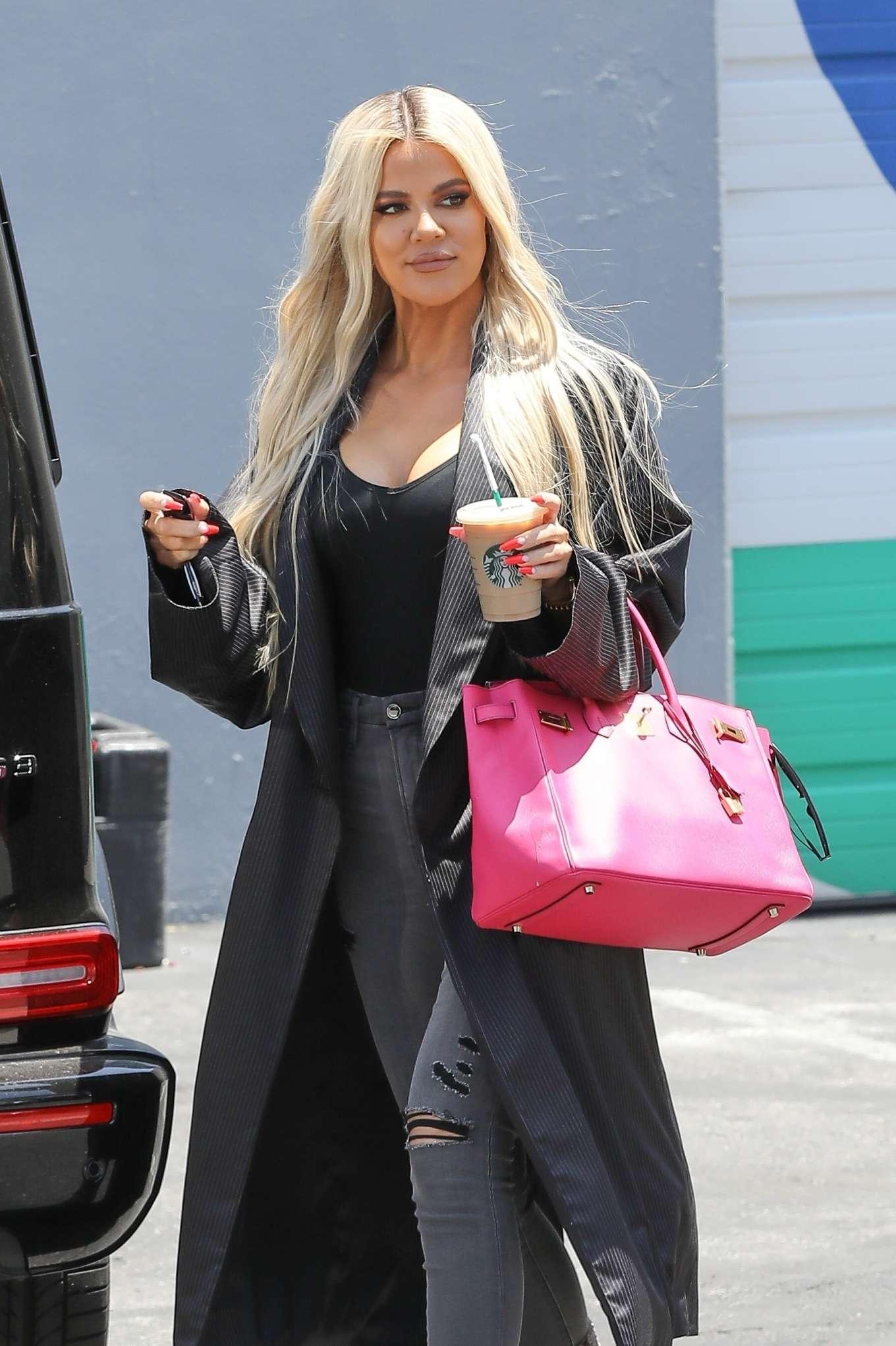 Khloe Kardashian in Long Coat - Out in Calabasas