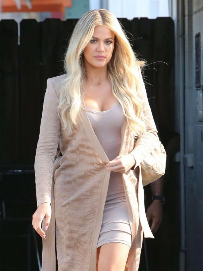 Khloe kardashian in mini dress leaves a studio in van nuys for How to dress like khloe kardashian
