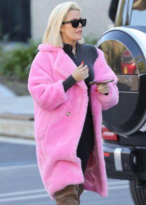 Khloe Kardashian in Pink Fur Coat - Out in Calabasas
