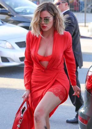 Khloe Kardashian in Red Leaving Vanderpump Dogs in West Hollywood