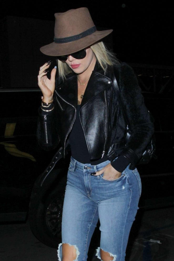 Khloe Kardashian in Ripped Jeans at LAX Airport in LA