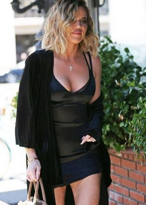 Khloe Kardashian in Short Black Dress at Emilio Trattori in Encino