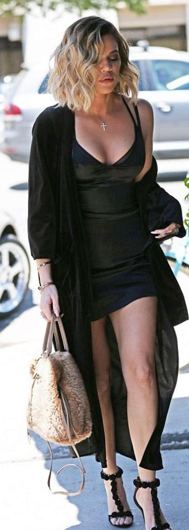 Khloe Kardashian in Short Black Dress -04