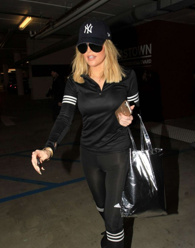 Khloe Kardashian in Soul Cycle out in Los Angeles