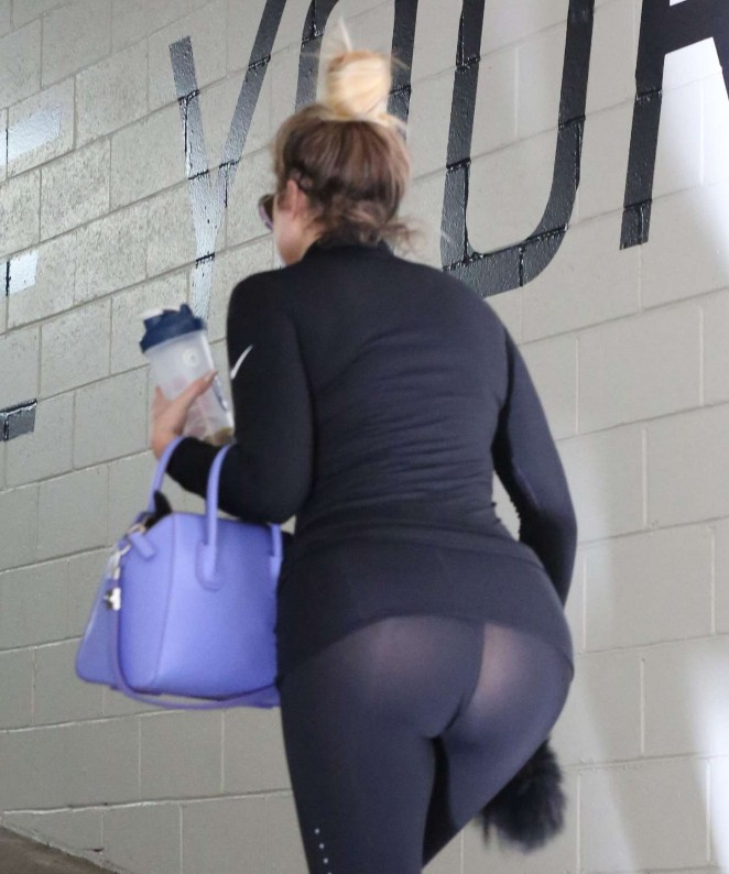 Khloe Kardashian in Spandex at Gym in Beverly Hills