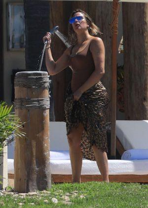 Khloe Kardashian In Swimsuit On The Beach In Mexico GotCeleb