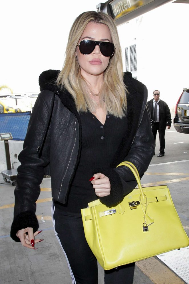 Khloe Kardashian in Tights at LAX Airport in LA