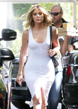 Khloe Kardashian in White Dress out in Woodland Hills